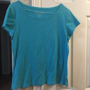 faded glory teal short sleeve top L